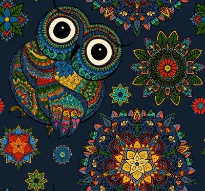 Vinilo Modelo inconsútil del búho ornamental del color con las flores y la mandala. Africano, indio, tótem, diseño del tatuaje. Puede ser utilizado para el diseño de una camiseta, un bolso, una postal, un ca