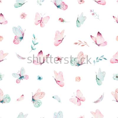 Vinilo Modelo inconsútil del unicornio lindo de la acuarela con las flores. Guardería mágica de unicornio con patrones. Princesa del arco iris de textura. Caballo de pony de dibujos animados de moda rosa.