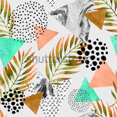 Vinilo Modelo inconsútil geométrico del verano abstracto. Triángulos con texturas grunge de hoja de palma y mármol. Fondo geométrico abstracto en el arte pop retro vintage 80s 90s. Dibujado a mano ilustració