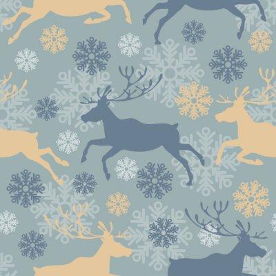Vinilo Modelo inconsútil lindo de la Feliz Navidad con los renos y los copos de nieve. Vintage ilustración vectorial.