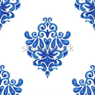 Vinilo Modelo ornamental específicamente abstracto de la teja de la pintura de la acuarela para la tela