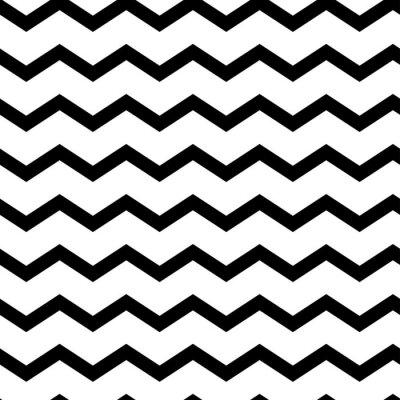 Vinilo Modern geometric seamless pattern zig zag. Black waves isolated on white background. Classic striped retro background. Vector illustration