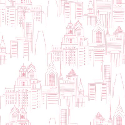 Vinilo Modern New York city scape in pink colour. Girlish Superhero themed neutral seamless pattern. Vector doodle graphics. Perfect for little girl design like t-shirt textile fabric print birtday party
