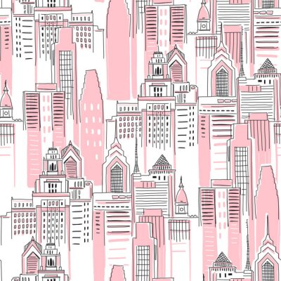 Vinilo Modern New York city scape in pink colour. Girlish Superhero themed seamless pattern. Vector doodle graphics. Perfect for little girl design like t-shirt textile fabric print birtday party wrapping
