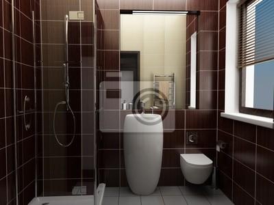 Moderno cuarto de baño con azulejos de color marrón vinilos ...