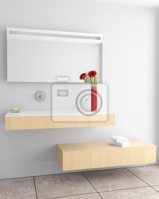 Moderno cuarto de baño con la pared blanca vinilos para portátiles ...