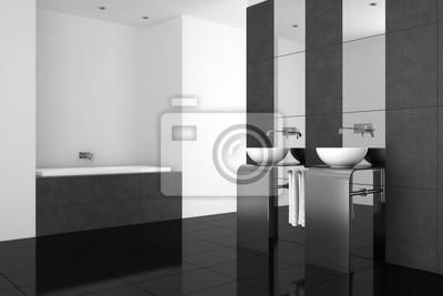 Moderno cuarto de baño con lavabo doble y suelo negro vinilos para ...