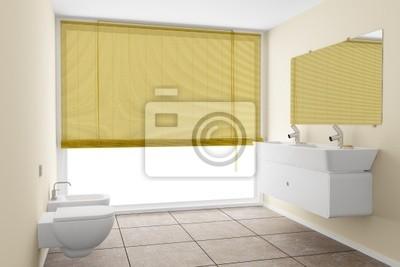 Moderno cuarto de baño con paredes de color beige y el ...