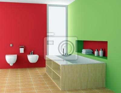 Moderno cuarto de baño con paredes de color rojo y verde vinilos ...