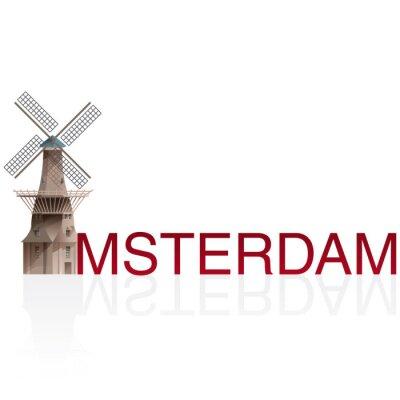 Vinilo MOLEN DE GOOYER, Amsterdam. Vectores de ciudades monumentales europeas.
