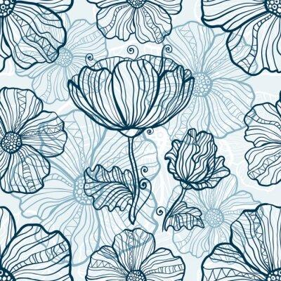 Vinilo Monocromática flores de amapola patrón transparente