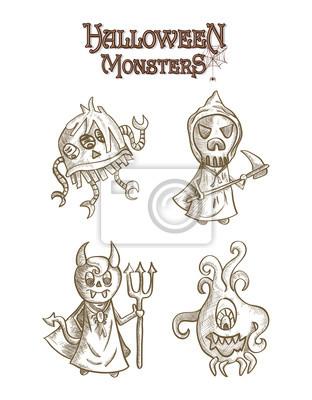 Monstruos de halloween de miedo dibujos animados de estilo boceto