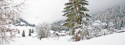 Vinilo Montaña nevada en invierno