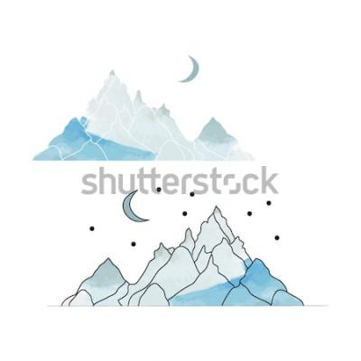 Vinilo Montañas Azules. Dibujo de un paisaje al estilo de la acuarela. Ilustración vectorial
