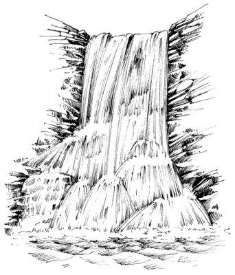 Vinilo Montañas cascada ilustración gráfica