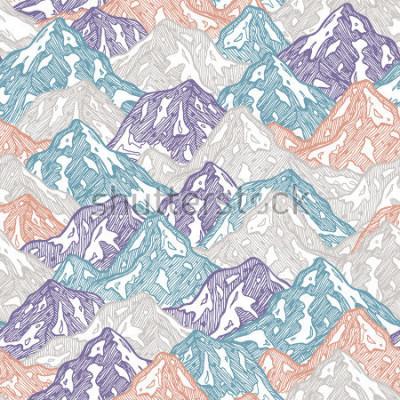 Vinilo Montañas de patrones sin dificultades. Ilustración de niño de montañas de diversión. Ilustración vectorial