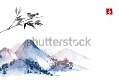 Vinilo Montañas y pajarito en rama de bambú. Jeroglífico - eternidad. Pintura de tinta oriental tradicional sumi-e, u-sin, go-hua.