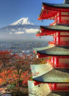 Vinilo Monte Fuji y hojas de otoño en Arakura Sengen Shrine de Japón