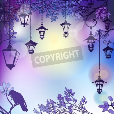 Vinilo Morning background with tree branches and retro street lamps