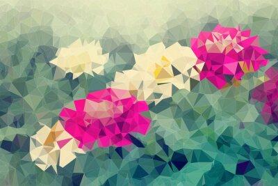 Vinilo Mosaico y bajo fondo de polígono sobre fondo de flores, ilustración