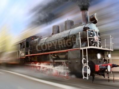 Vinilo motor de vapor, locomotora de desenfoque de movimiento