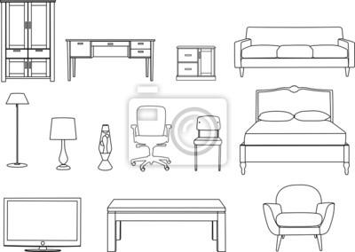 muebles, dibujo lineal vinilos para portátiles ? vinilos para la ... - Dibujo De Muebles