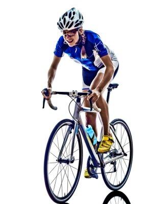 Vinilo Mujer atleta de triatlón ironman ciclista ciclismo