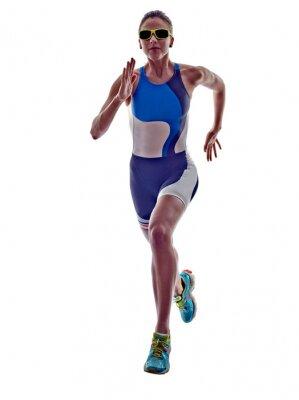 Vinilo Mujer corredor de triatlón ironman Atleta corriente