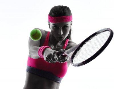 Vinilo Mujer jugador de tenis retrato silueta