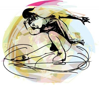Vinilo mujer patinador patinaje sobre hielo en el estadio deportivo de colores