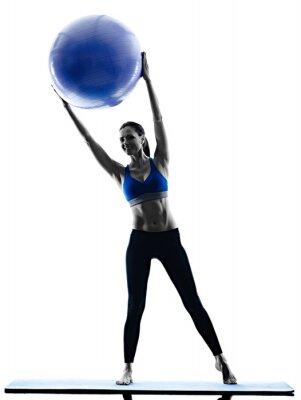 Vinilo Mujer pilates bola ejercicios fitness aislado