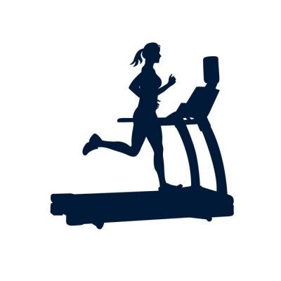 Vinilo Mujer que hace ejercicios en la rueda de ardilla, en el fondo blanco,