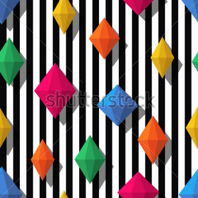 Vinilo Multicolor diamonds, gems on black white stripes, seamless pattern. 3d vector shapes. Abstract universal background. Design for fashion textile print, wrapping paper, web background, package.