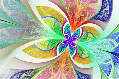 Vinilo Multicolor Fondo de la flor o de la mariposa del fractal en manchado-g
