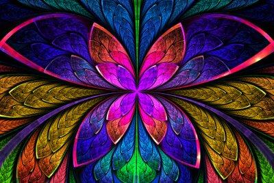 Vinilo Multicolor patrón fractal simétrica como la flor o una mariposa