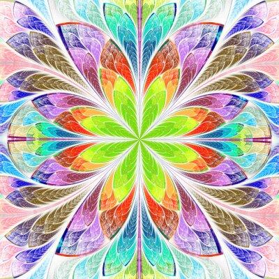 Vinilo Multicolores simétricos fractal flor en vitrales