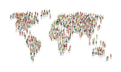 Vinilo Multitud de personas componiendo un mapa del mundo