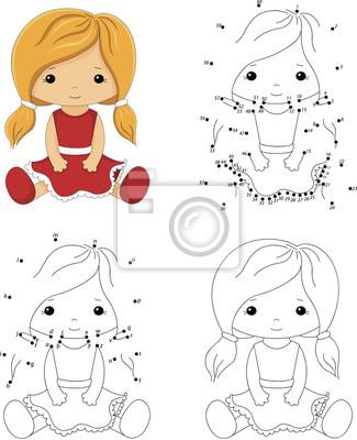 Muñeca de dibujos animados en un vestido rojo. libro para colorear ...