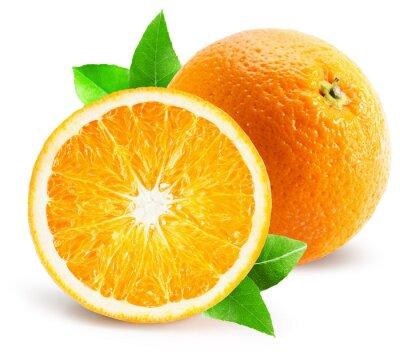 Vinilo Naranja con la mitad de naranja aislado en el fondo blanco