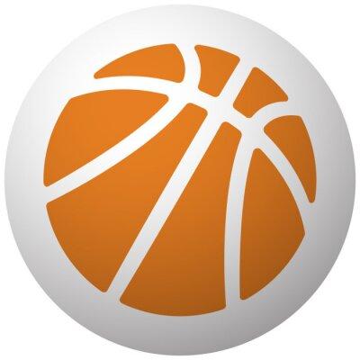 Vinilo Naranja icono de baloncesto en la esfera aislada sobre fondo blanco