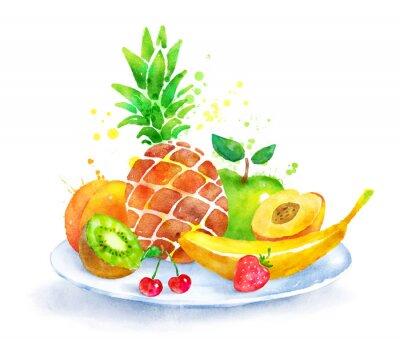 Vinilo Naturaleza muerta con frutas en un plato.
