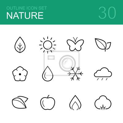 Naturaleza vector de contorno icono conjunto - hoja, sol, mariposa ...