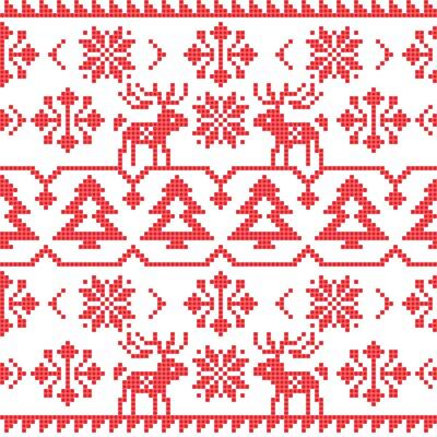 Vinilo Navidad y invierno patrón sin costura de punto