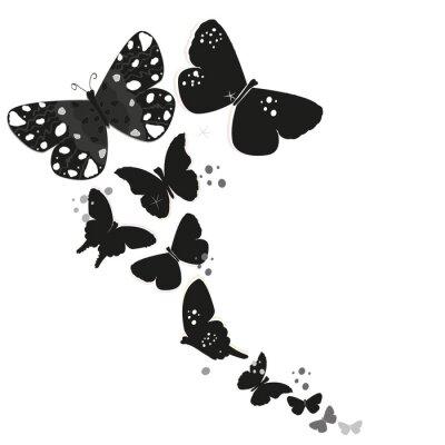 Vinilo Negro diseño de la mariposa y el resumen de flores decorativas vector de fondo