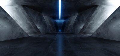 Vinilo Neon Laser Blue Sci Fi Modern Concrete Cement Dark Empty Asphalt Reflective Grunge Hall Room Corridor Tunnel Spaceship Glowing White Cinematic Daylight Rays Glow 3d Rendering