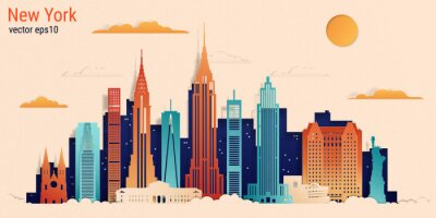 Vinilo New York city colorful paper cut style, vector stock illustration. Cityscape with all famous buildings. Skyline New York city composition for design.
