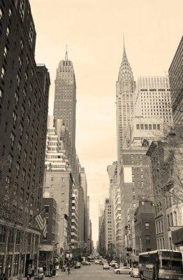 Vinilo New York City Manhattan street view black and white
