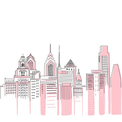 Vinilo New York city scape background. Hand drawn vector doodle graphics. Pink and black colours. Perfect for girlish design.