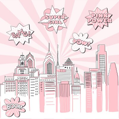 Vinilo New York city scape on Retro sun ray background with pop art comic fight supergirl power text bubbles . Hand drawn vector doodle graphics. Pink and black colours. Perfect for girlish design.