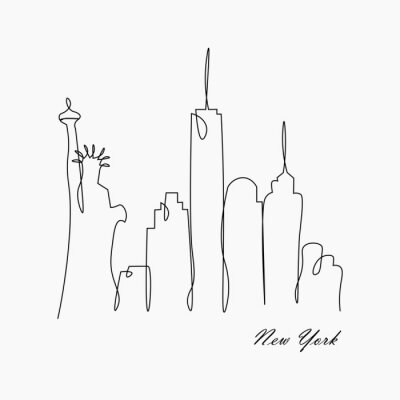 Vinilo New york city skyline with statue of liberty, usa, vector illustration.